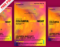 Colourful Music Party Flyer PSD