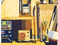 配管と自販機