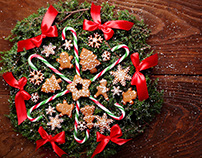Sweet wreath .Christmas backgrounds