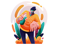 Man Wearing Face Shield Illustration