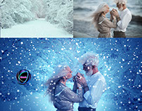 An old love couple in snow background