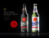 Beer Bottle Mockup 500ml