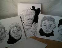Portraits à l'encre de chine