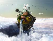 Floating island concept art animation