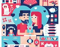 Love in japan - digital Illustration