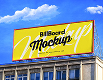 Free Billboard On Building Mockup PSD