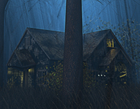illustration house in the woods