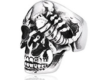 Punk Scorpion Skull Head Men's Titanium Ring