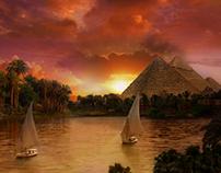 Pyramid sunset