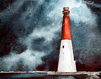 Watercolor lighthouses for print