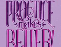 Practice Makes Better hand-lettering illustration