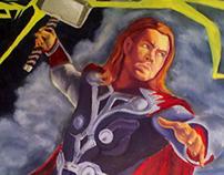 """Thor and Mjölnir"" Oil Painting"