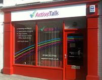 Active Talk rebrand, stationery & signage design