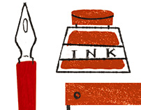 Ink bottle, letter pad and two pens