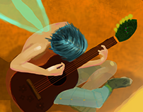 Fairy boy playing guitar inside a sunflower
