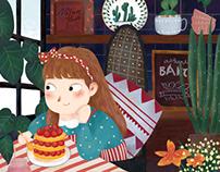面包房的小女孩