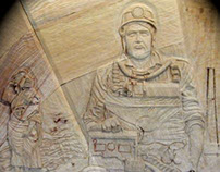 Llay Miners Welfare Art Deco Wall Relief Carving