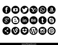 Popular Social Media Black and White Vector Icons