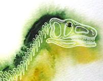 Watercolor dinosaurus