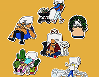 Pillowhead Dog and Plant Stickers