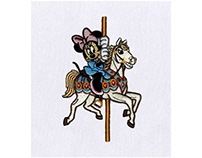 CAROUSEL SWINGING MINNIE MOUSE EMBROIDERY DESIGN