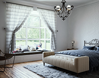 Simple Bedroom with Vray