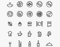 Line Minimal Food Icons