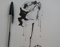 """""""Rose"""" with black bicpen 1/4 29.7x21 cm"""