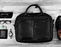 Set of businesman. Briefcase, brogues, money , watch.