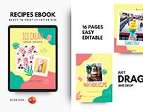 Ice cream recipe cookbook template
