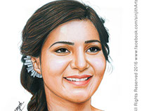 Actress - Samantha Ruth Prabhu - Colored Pencil Drawing