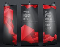 Roll Up Black Banner Mock-Up