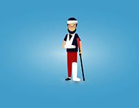 Injured Person Vector Illustration
