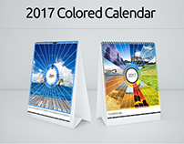 Colored Scenery Desk and Wall Calendar