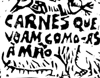 as carnes que voam como-as à mão