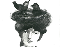 Woman, birds and freedom