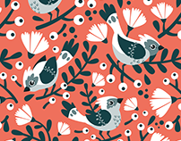 Birds and Blossoms pattern design