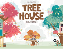 Tree House. Cartoon illustration