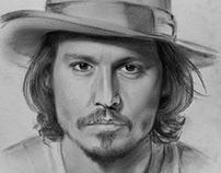 Portrait Pencil Drawing Johnny Depp