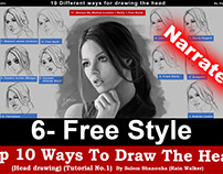 "Top 10 ways to draw the head [6- Free Style] ""Narrated"""