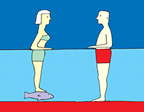 casal na piscina - cartoon para revista Caros Amigos