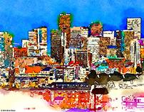 painted illustration of the Denver skyline