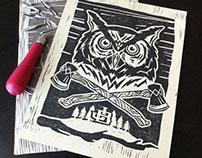 Night Owl Linocut Print