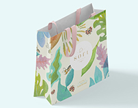 Ilustration and packaging for a baby's store brand