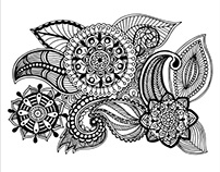 Handdrawn floral doodle elements for color book