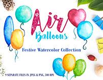 Watercolor Air Balloons Clipart
