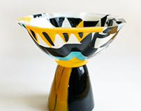 Mixed technique glass bowls