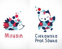Ciekawska Sówka, Milusin | budowa logotypów