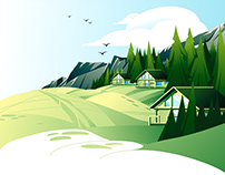 Vector illustration set of summer landscapes
