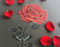 Photorealistic red rose and green butterfly drawing art